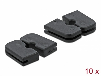 Set 10 buc protectie cabluri dreptunghiular - diametru 2.2 mm Negru, Delock 60258