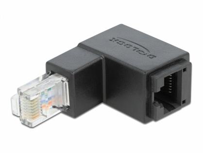 Adaptor RJ45 UTP in unghi jos cat 6 T-M negru, Delock 86423