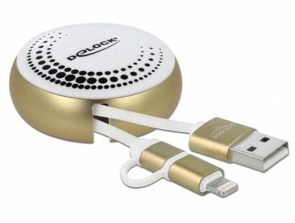 Cablu de date si incarcare USB 2.0 la micro USB-B + Lightning retractabil Alb/Auriu, Delock 85820