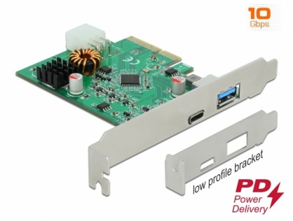 PCI Express cu 1 x USB-C PD + 1 x SuperSpeed USB 10 Gbps (USB 3.2 Gen 2)-A, Delock 89001