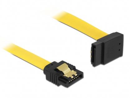 Cablu SATA III 6 Gb/s unghi drept - sus galben 20cm, Delock 82799