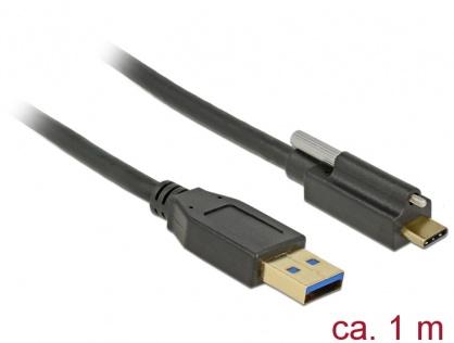 Cablu SuperSpeed USB 10 Gbps (USB 3.1 Gen 2) tip A la USB-C cu surub sus T-T 1m Negru, Delock 83717