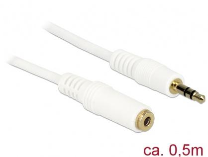 Cablu prelungitor audio jack 3.5mm 0.5m Alb, Delock 83763
