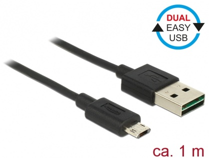 Cablu EASY-USB 2.0 tip A la EASY-USB 2.0 tip Micro-B T-T Negru 1m, Delock 83844