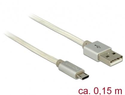 Cablu de incarcare + date micro USB-B la USB 2.0 T-T Alb 0.15m, Delock 83913