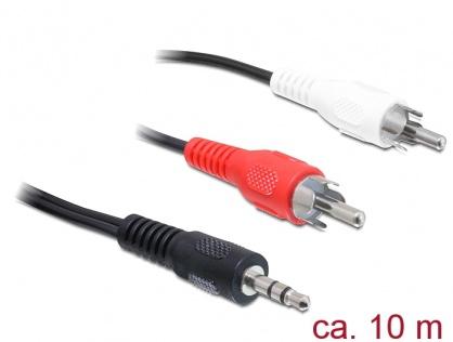 Cablu audio jack stereo 3.5mm la 2 x RCA T-T 10m Negru, Delock 84277