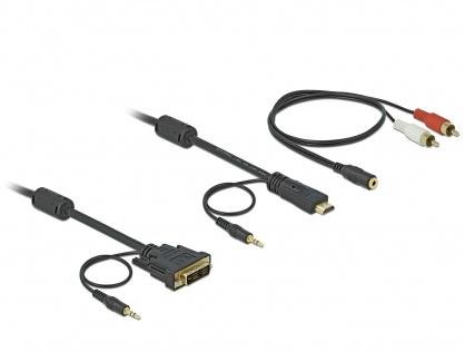 Cablu HDMI la DVI-D Single Link 18+1pini T-T cu audio 2m, Delock 84455
