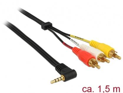 Cablu Stereo jack 3.5 mm 4 pini la 3 x RCA T-T 1.5m, Delock 84504