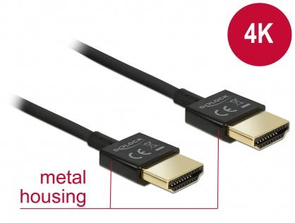 Cablu HDMI 4K High Speed  cu Ethernet T-T 3D 1m Slim Premium, Delock 84771