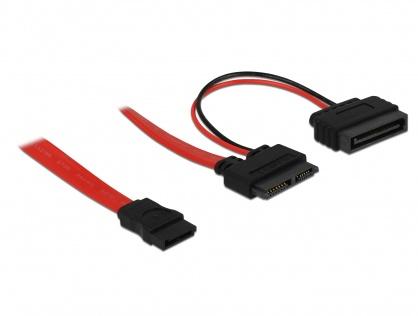 Cablu Slim SATA 13 pini la SATA 7 pini + alimentare SATA 70cm, Delock 84799