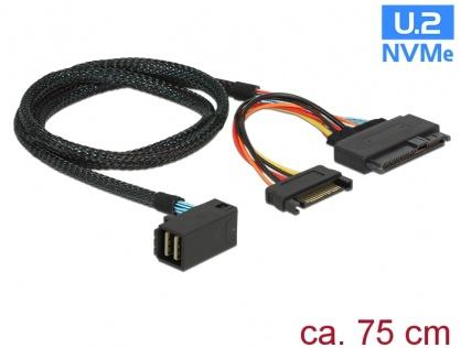 Cablu SFF-8643 unghi la U.2 SFF-8639 + alimentare SATA 75cm, Delock 84822