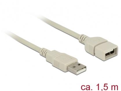 Cablu prelungitor USB 2.0 T-M 1.5m gri, Delock 84828