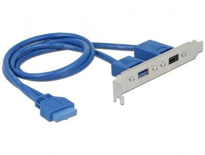 Bracket USB 3.1 pin header 19 pini mama la 1 x USB-C + 1 x USB-A, Delock 84930