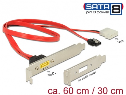 Slot bracket SATA 6 Gb/s 7 pini + Molex 4 pini alimentare la SATA de alimentare 8 pini, Delock 84949