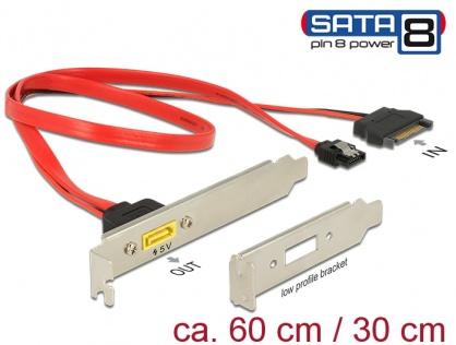 Slot bracket SATA 6 Gb/s 7 pini + SATA 15 pini alimentare la SATA de alimentare 8 pini, Delock 84951