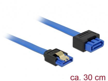 Cablu prelungitor SATA III 6 Gb/s T-M bleu latchtype 30cm, Delock 84972