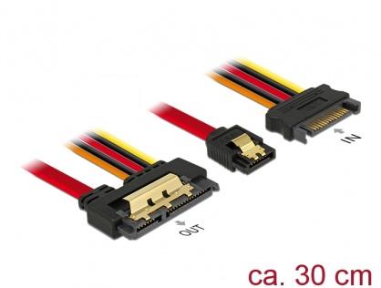 Cablu de date + alimentare SATA 22 pini 6 Gb/s cu clips la SATA 15 pini + SATA 7 pini 30cm, Delock 85228