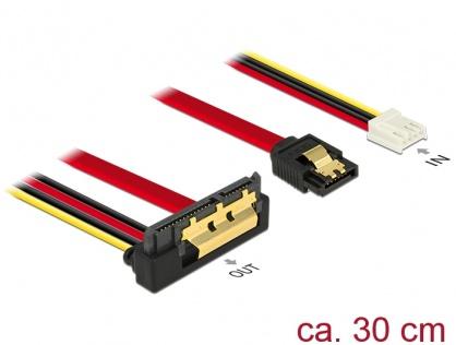 Cablu de date + alimentare SATA 22 pini 6 Gb/s cu clips la Floppy 4 pini mama + SATA 7 pini unghi jos/drept 30cm, Delock 85235