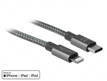 Cablu de date si incarcare USB-C la iPhone Lightning MFI 2m Gri, Delock 85298