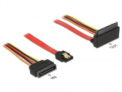 Cablu SATA III 6 Gb/s + alimentare SATA 15 pini la SATA 22 pini unghi sus 30cm, Delock 85515