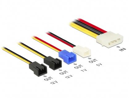 Cablu de alimentare Molex la 4 x 2 pini ventilator (12 V / 7 V / 5 V) 20cm, Delock 85516