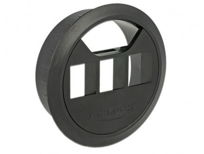 Carcasa pentru montare in masa 3 porturi Keystone 60 mm Negru, Delock 86277