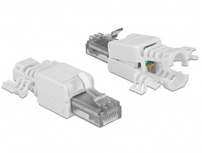 Set 2 bucati conector RJ45 Cat.6A pentru fir solid UTP toolfree, Delock 86417
