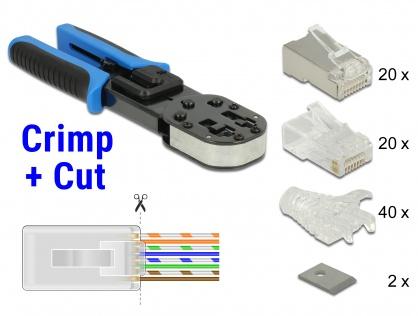 Set Cleste de sertizare RJ45 / RJ12 + accesorii Crimp+Cut, Delock 86450