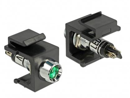 Keystone negru cu LED verde 6V, Delock 86456