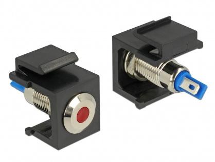 Keystone negru cu LED rosu 6V flat, Delock 86464