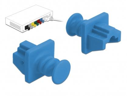 Set 10 buc protectie impotriva prafului pentru RJ45 Albastru, Delock 86509