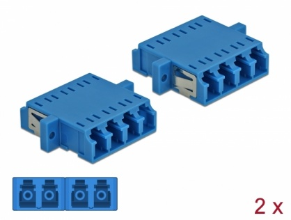 Set 2 buc fibra optica LC Quad la LC Quad Single-mode M-M Blue, Delock 86538