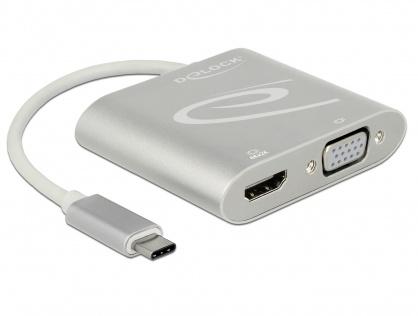 Adaptor USB-C (DP Alt Mode) la 1 x HDMI + 1 x VGA, Delock 87705