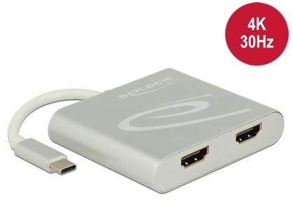 Multiplicator USB-C (DP Alt Mode) la 2 x HDMI 4K 30 Hz, Delock 87715