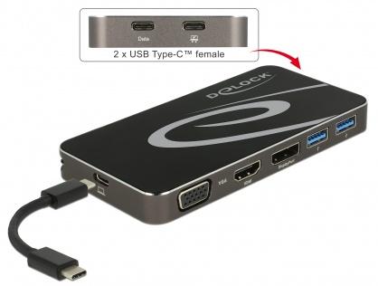 Docking Station USB 3.1 tip C la HDMI + DP + VGA 1080p, USB Hub si PD (power delivery), Delock 87722