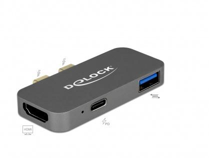 Mini docking station pentru Macbook 2 x Thunderbolt 3/USB-C la 1 x HDMI, 1 x USB-A, 1 x USB-C 5K, Delock 87739