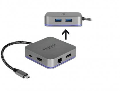 Docking Station pentru dispozitive mobile USB-C la HDMI 4K/ Hub / LAN / PD 3.0 cu LED, Delock 87742