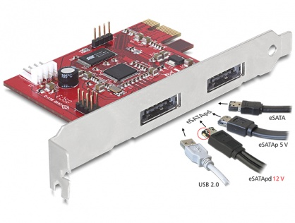 PCI Express 2 x Power Over eSATA 5V-12V, Delock 89233