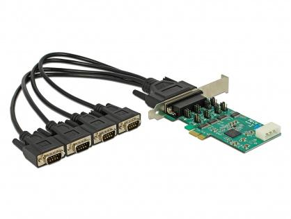 PCI Express cu 4 x Serial RS-232 High Speed 921K cu Voltage supply, Delock 89335