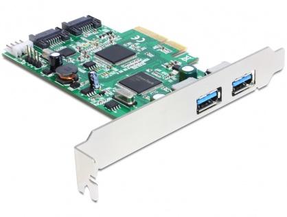 PCI Express cu 2 x USB 3.0 externe , 2 x SATA 6 Gb/s interne, Delock 89359