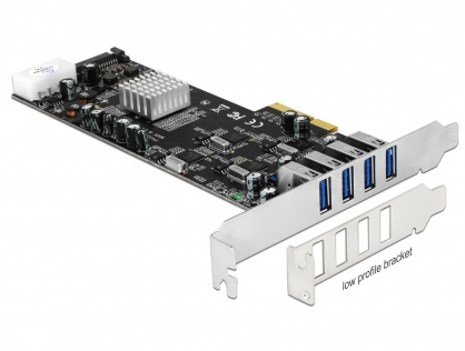 PCI Express Card cu 4 x USB 3.0 externe Quad Channel, Delock 89365