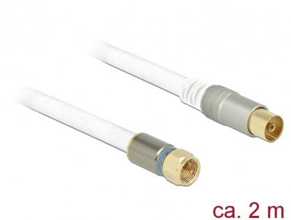 Cablu antena F Plug la IEC Jack RG-6/U 2m Premium Alb, Delock 89400