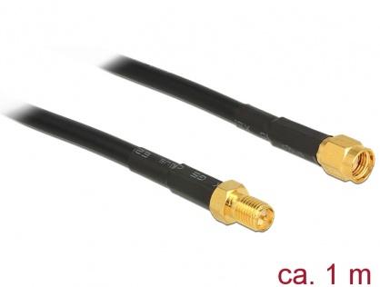 Cablu antena RP-SMA plug la RP-SMA jack CFD/RF200 1m low loss, Delock 89423