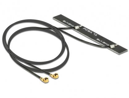 Antena WLAN 802.11 ac/a/h/b/g/n 2 x MHF plug 5 dBi 500 mm PCB internal self adhesive, Delock 89457
