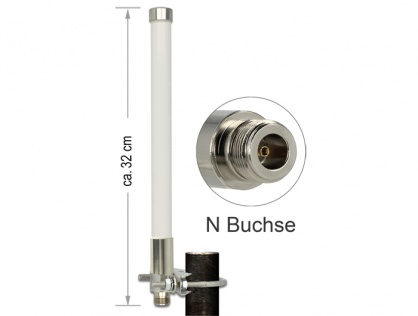 Antenna N jack 3 dBi 32 cm omnidirectional fixed pole mount white outdoor LoRa 868 MHz, Delock 89583
