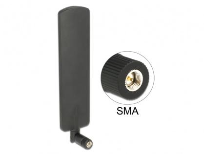Antena LTE rotabila omnidirectionala SMA plug 2 dBi neagra, Delock 89604