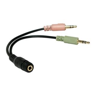 Adaptor jack stereo 3.5mm la 2 x jack stereo 3.5mm casca + microfon M-T, Logilink CA0020