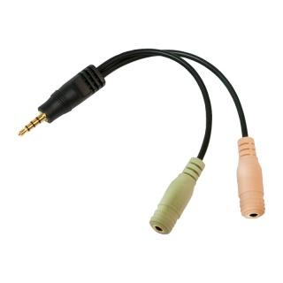 Adaptor jack stereo 3.5mm la 2 x jack stereo 3.5mm casca + microfon T-M, Logilink CA0021