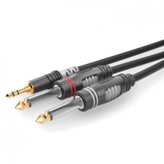Cablu audio jack stereo 3.5mm la 2 x jack mono 6.35 T-T 3m, HBA-3S62-0300