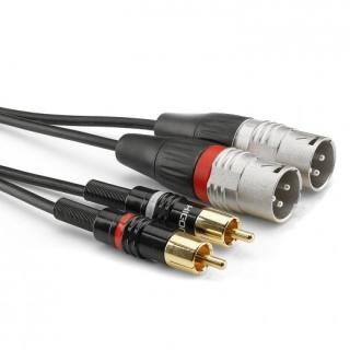 Cablu audio 2 x XLR 3 pini la 2 x RCA T-T 3m, HBP-M2C2-0300